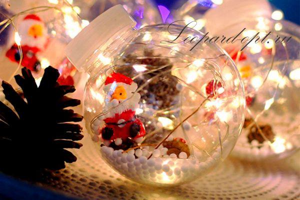Ламповая гирлянда занавес «Санта Клаус в шаре»